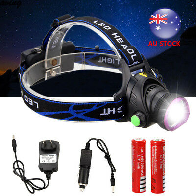 AU STOCK 8000LM XM-L T6 LED Rechargeable HeadLamp USB HeadLight Torch Lamp 18650