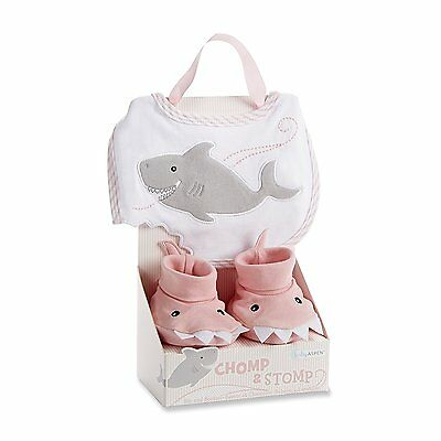 Baby Chomp and Stomp Shark Bib and Booties 100% Cotton Gift Set Pink New
