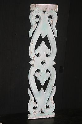 Railing grate old WOOD FRETWORK shabby chippy chic blue & pink paint BALUSTER