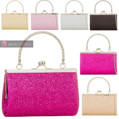 New Womens Bridal Party Glitter Top Handle Chain Strap Small Frame Clutch Bag