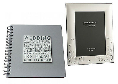 (A) Wedding Book (Guest/Scrapbook) & Heart Silver Plated Photo Frame Set Special