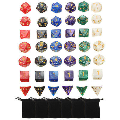 42pcs 6 Colors Multi-sided Game Polyhedral Digital Acrylic Dice Set w/Carry Bag