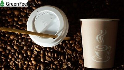 Disposable PAPER CUPS Coffee Tea 8oz,12oz LIDS for Hot Drinks &  WOODEN STIRRERS