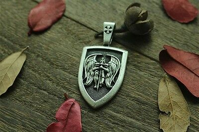 "Archangel Saint ""St Michael Protect Us"" Pray Prayer Pendant Medal Necklace"