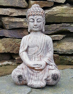Buddha kneeling Ceramic Drift Wood Effect Garden Outdoor Statue Ornament