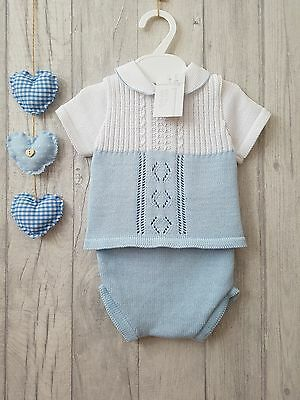 Baby Boys Gorgeous Spainsh Knitted 2 Piece Romper Suit - Small Fitting
