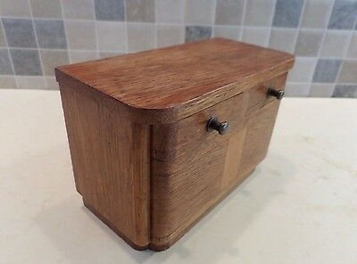 Art Deco Solid Oak Vanishing Coin Money Box In Form Of Sideboard With 2 Drawers