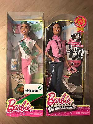 Lot of 2 Barbie Dolls: Girl Scouts Barbie and Film Director Barbie New Sealed