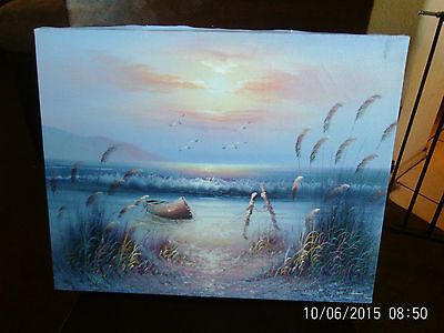 "Seascape Oil Painting Original By B Nelson 20"" x 16"" Not Framed"