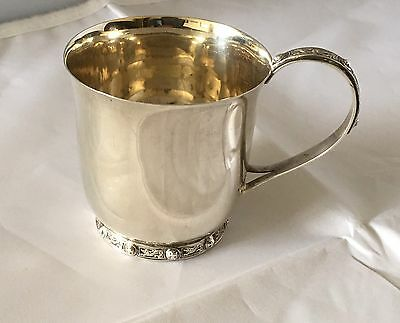 Quality CELTIC Design style solid silver TANKARD, Goblet, Dated 1957 65.4gm