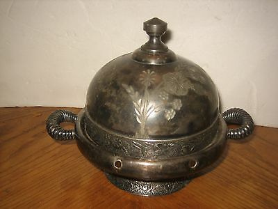 Antique Quadruple Silver Plate Round Butter Dish w/Lid - Homan Silver Co.