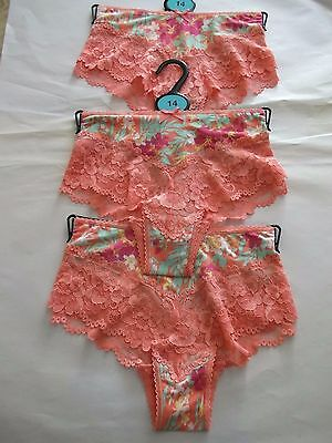 3 M&s Ladies Brazilian Lace Shorts,briefs,knickers, 6,8,10,12,14,16 Free Postage