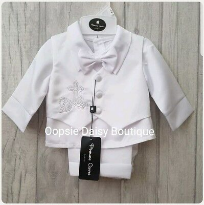Boys White Embroidered Cross Christening Suit 3 Piece Soft Satin ☆ 3mth-24mth ☆