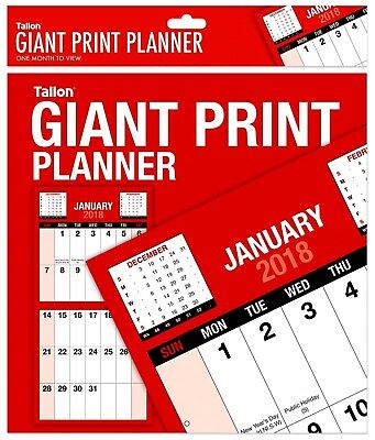2018 Giant Print Month To View Wall Planner,Home,Office,Work - WH2 -R5D 070 NEW