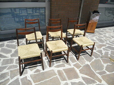Group Of 6 Chairs Rosewood Italian Production From 1960