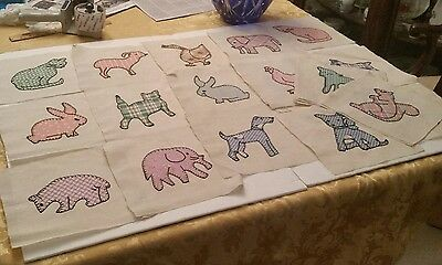 Stack of 29 Antique Embroidered Quilt Squares Animals Cat Dog Duck Elephant Farm