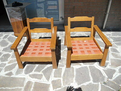 Couple Of Armchairs In Solid Oak From 1960 Italian Design