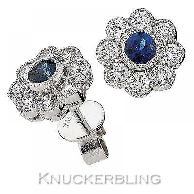Blue Sapphire and Diamond Daisy Earrings 1.15ct in 18ct White Gold Pierced Ears