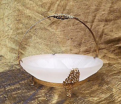 Victorian Frosted Glass Filigree Gold Tone Handled Bowl Divided Candy Dish