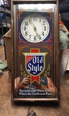 Heileman's Old Style Lighted  Beer Sign and Clock Mirror