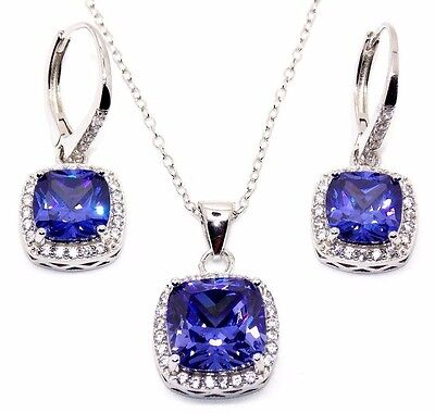 Sterling Silver Tanzanite And Diamond 8.46ct Cluster Necklace Set (925) Free Box