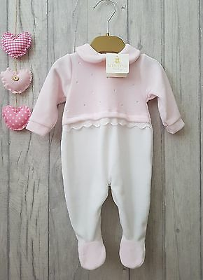 Baby Girls Stunning Diamante Sparkles and Lace Velour Romper Mintini Baby