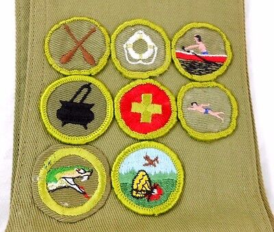 Vintage 1960's Boy Scout Badge Lot of 8 with Sash Merit B.S.A. Patches Rare