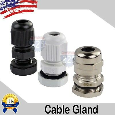 PG7 - PG29 Black/White/Brass Tight Cord Grip Cable Gland w/Lock-Nut & Gasket LOT