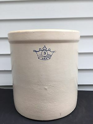 "Antiques 3 Gallon Stoneware Robinson Ransbottom , ""blue Crown"" 1900-1940 Crock"