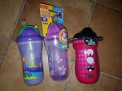 Toddler Girls Nuby and Tommee Tippee Drinking Bottles/Sippy Cup with Straw NEW