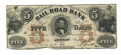 1853 $5 Erie and Kalamazoo Railroad Bank, Adrian Michigan note with Scalloped 5