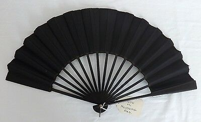 """Antique Widow's Mourning Hand Fan Black 20"""" Victorian Collector's Estate EUC"""
