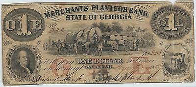 1857 Merchants & Planters Bank of Georgia $1 One Dollar Bill Currency Note