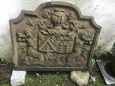 Antique 1800's Dome Top Cast Iron French Fireback With Coat of Arms & Mermaids