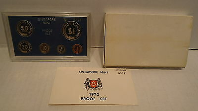 1972 Singapore Proof Set PS4 6 Coin In Original Box With COA #374 of 749