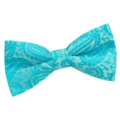 Paisley Mens Wedding Formal Adjustable Pre-tied Bow Tie - Turquoise