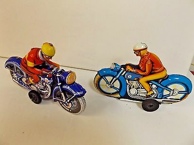 2 Tin Litho Motorcycle & Rider / 1 Made in West Germany / Friction Toy / Blue