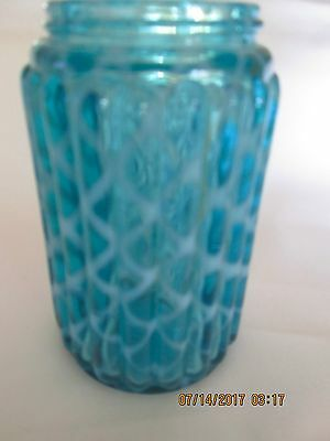 Hobbs & Brockunier Blue Opalescent Ribbed Lattice Quilted Shaker Muffineer