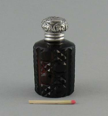 Small Antique Victorian Cut Ruby Glass Silver Top Perfume Scent Bottle c.1882