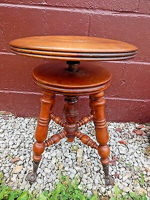 Antique Solid Walnut Swivel Top Piano Stool With Glass Ball And Claw Feet