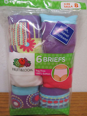 QTY 6 Fruit of the Loom Girl's Size 8 Tagless Briefs Panties Pink Purple White