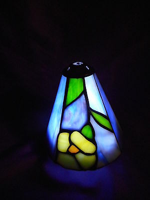 "Vintage Stain Glass Leaded Lamp Light Shade Globe 4 3/4"" Tall Tiffany Style"