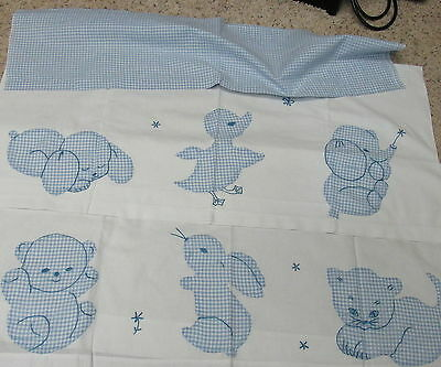 TC-6 Panels Vintage Cafe Curtains Baby Nursery blue gingham applique animals
