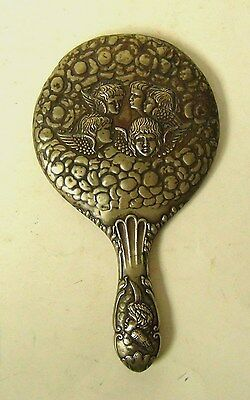 ART NOUVEAU HAND MIRROR  WITH ANGEL DECORATION - 29cms