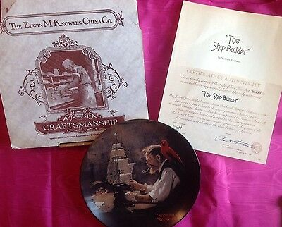 """NIB Knowles Norman Rockwell Collector Plate """"The Ship Builder"""" w/COA"""