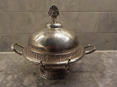 Bright Ornate Round Silver Plate Covered Butter Dish w Finial Toronto S P co.