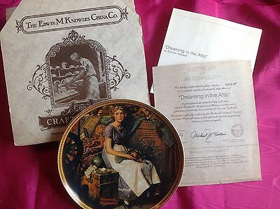 """NIB Knowles Norman Rockwell Collector Plate """"Dreaming in the Attic"""" w/COA"""