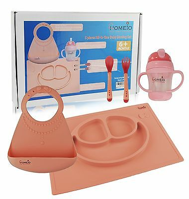 Children Dining Set Silicone Baby Bib Kids Dishware Placemat Utensils 5 PCs Kit