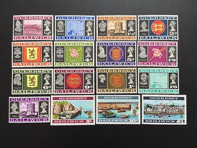 ASstamps GB Guernsey Bailiwick 1969-70 QE II Issue Complete Set MNH SC#8-23