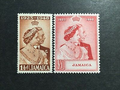 ASstamps 1948 Jamaica King George VI Silver Wedding Set MNH SC#138-139